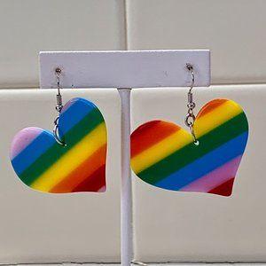 Vintage Rainbow Heart-Shaped Dangling Earrings EUC